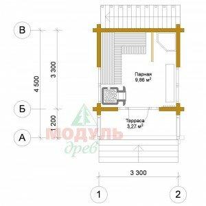 Проект небольшой, двухэтажной бани